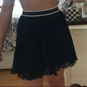 Black Pleated Skirt with White Band